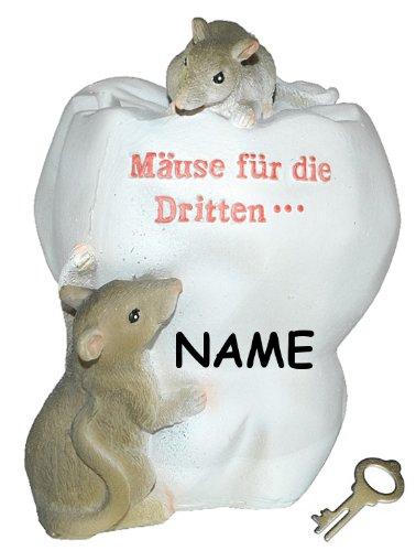 alles-meine.de GmbH Spardose Maus  Mäuse für die Dritten ...  Zähne - mit Schlüssel + Name - stabile Sparbüchse aus Kunstharz - Zahn Arzt Geld Mäuse Doktor Arzt Zahnarzt