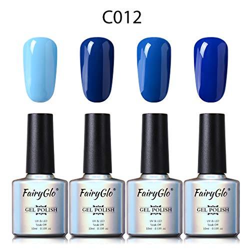 Esmalte de Uñas Semipermanente Uñas de Gel UV LED Kit de Manicura Serie de Color Azul 4pcs Manicura y Pedicura de Fairyglo-C012