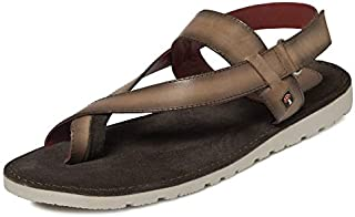 TONI ROSSI Men's Dk.Brown Aron Leather Sandals