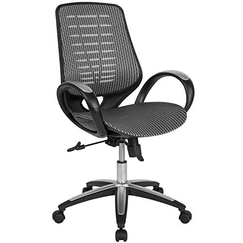 Flash Furniture Newton Mid-Back Ergonomic Office Chair with Contemporary Mesh Design in Gray