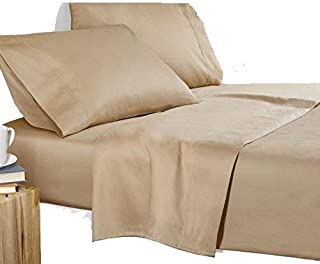Tula Linen 1200 TC 100% Egyptian Cotton Sleeper Sofa Bed Sheet Set Solid fit Up to 9 Inch with 4 -PCS Fitted Straps Premium Quality (Queen XL (60