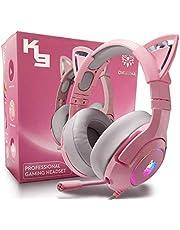 Casque de Jeu pour PC/PS4/PS5/Xbox One,Gaming Headphones avec Oreilles de Chat Rose,Casque Filaire avec 7.1 Surround Sound,Micro Rétractable à Réduction de Bruit Réglable