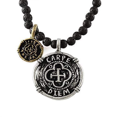 Men's Carpe Diem/Seize The Day Silver Coin Lava Bead Necklace