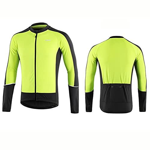 ZMMZZ Hombres manga larga ciclismo Jersey primavera otoño Downhill MTB Mountain Bike Camisas Bicicletas ropa de secado rápido, verde, XXL