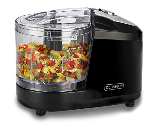 Dominion 1.5 Cup - Electric Mini Food Chopper - Vegetable & Fruit Cutter - Premium Stainless Steel Blades with Safety Lock Cover - One Step/Touch Button - Non-Skid Rubber Feet - Black