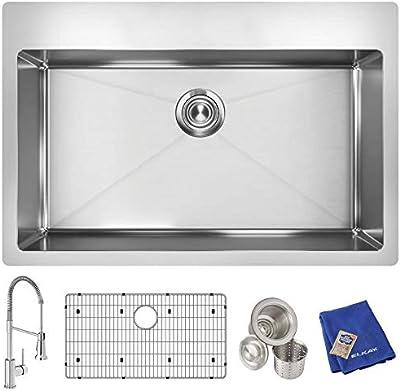 "Elkay Crosstown ECTSRS33229TFC 18 Gauge Stainless Steel 33"" x 22"" x 9"", Single Bowl Dual Mount Sink Kit with Faucet"