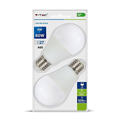 2 x LED-lamp 9 W Bulb A60 V-TAC E27 VT-2139 6400K SKU 7296