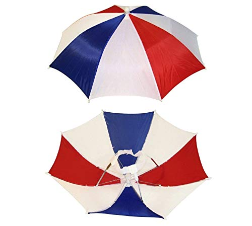 4 Pack Umbrella Hat Cap Hands Free with Head Strap for Sun Rain Red White Blue