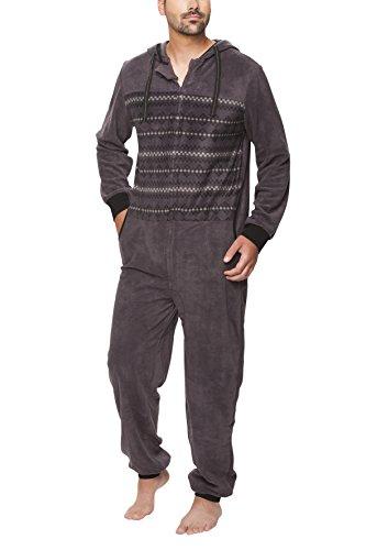 SLOUCHER - Herren Fleece Jumpsuit Jogger Onesie Overall Einteiler mit Reißverschluss und Kapuze, Farbe:anthrazit, Größe:XL