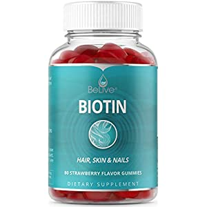 Biotin Gummies 10,000mcg Highest Potency for Hair Growth, Promotes Healthier Hair, Skin & Nail, Premium, Vegan, Non-GMO, Pectin-Based – Best Strength for Women & Men – 80 Count Strawberry Flavor