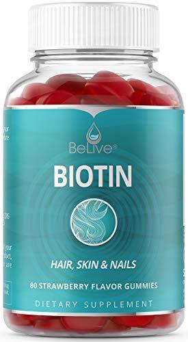 Biotin Gummies 10,000mcg Highest Potency for Hair Growth, Promotes Healthier Hair, Skin & Nail, Premium, Vegan, Non-GMO, Pectin-Based - Best Strength for Women & Men - 80 Count Strawberry Flavor