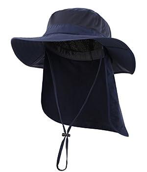 Home Prefer Mens Outback Safari Hat UPF50+ Sun Hat Large Fishing Cap Neck Flap Bucket Hat Navy Blue