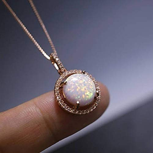 Birthstone Necklaces Gifts For Women,opal Moonstone Rose Crystal Pink Quartz Agata Lapis Lazuli Dragon Stone Pendants(round Bead)