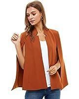 Alexander + David Women's Woven Structured Cape Blazer Coat, Suit Jacket with Pockets (Dark Rust, X-Large)