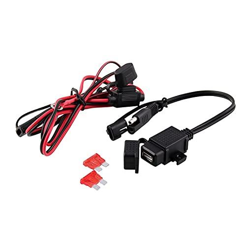linger 2 Port USB Car TELÉFONO DE TELÉFONO Adaptador Dual USB Carga Power Outlet Fit para Adaptadores de Motocicletas de 12V 24V Auto Cargador de zócalo (Color : Black)