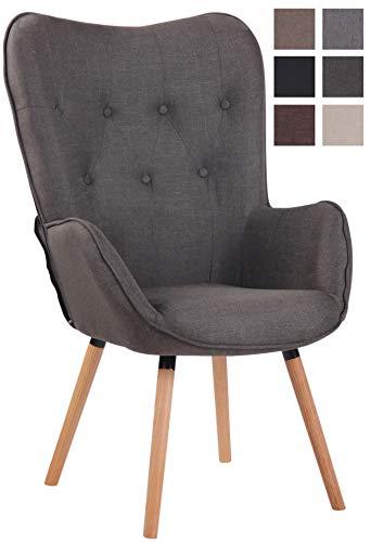 Lounger Ashford Stoff I Ohrensessel Gepolstert I Sessel Mit Eichenholzgestell I Sitzhöhe: 50 cm, Farbe:dunkelgrau, Gestell Farbe:Gestellfarbe Natura