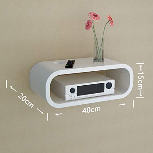 XIAOYAN Shelf Décoration Murale pour Fond d'écran, routeur pour Montage Mural/étagère pour décodeur (Couleur: Noir/Blanc) Casiers (Couleur : Blanc, Taille : 40 * 28 * 15cm)