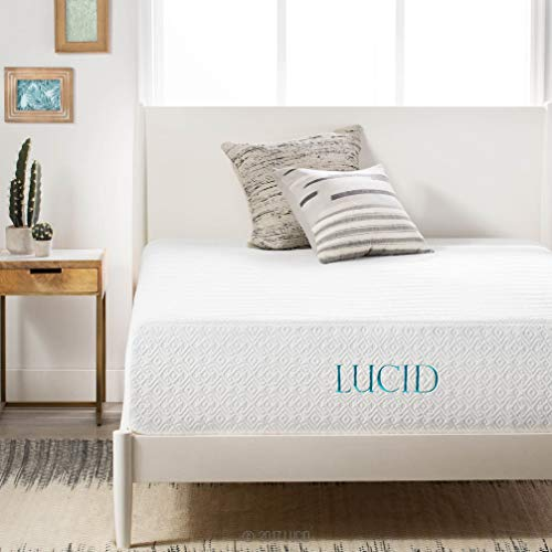 LUCID 14 Inch Medium-Plush Memory Foam Mattress - Ventilated Gel Memory Foam + Bamboo Charcoal...
