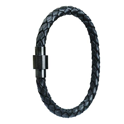 KAUTO Stainless Steel Braided Leather Bracelet for Men Women Wrist Cuff Bracelet 7.5-8.5 Inches
