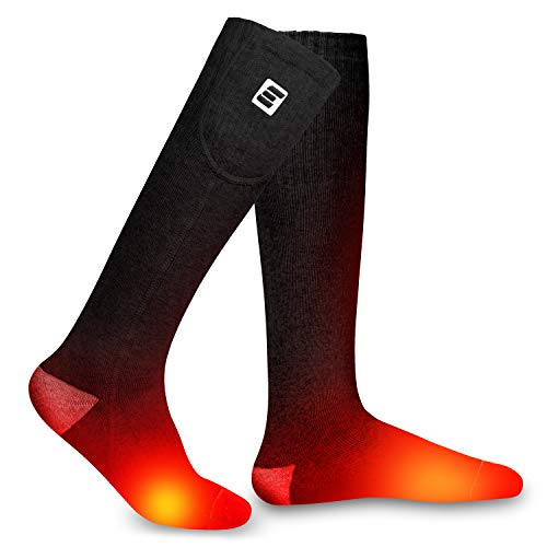 EEIEER Electric Socks for Men Rechargeable Heated Socks Comfortable Thermal Socks Sport Outdoor Camping Hiking Warm Winter Socks for Men Women 7.4 Volt 2400mAh Battery Powered (Black&Gray, XL)