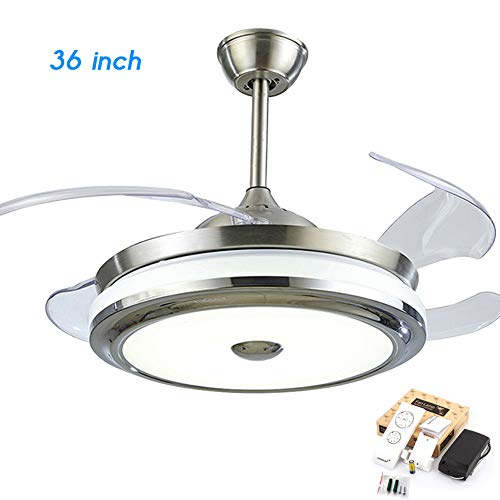 FINE MAKER Modern 36inch Ceiling Fan with Light and Remote Control Fandelier Retractable Invisible Blade LED Three-Color Light for Living Room/Bedroom/Restaurant