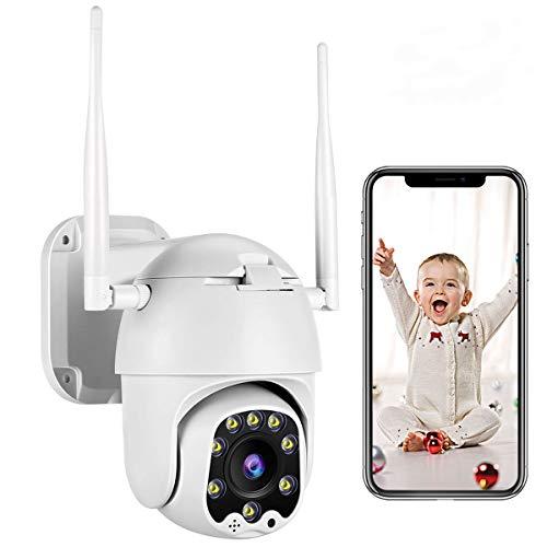 PTZ Camara Vigilancia, Camara WiFi Exterior Seguimiento Inteligente con App Alarma, Visión Nocturna, Audio de Dos Vías, Detección de Movimiento, 355° Pan/90° Tilt