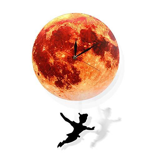 Reloj de Pared de péndulo de Luna Dorada decoración del hogar Reloj de Luna...