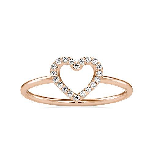 Anillo de uso diario en forma de corazón en oro blanco de 18 quilates, con diamantes naturales redondos brillantes | Anillo de compromiso para mujer | Anillo de boda para ella (0,07 quilates, IJ-SI)