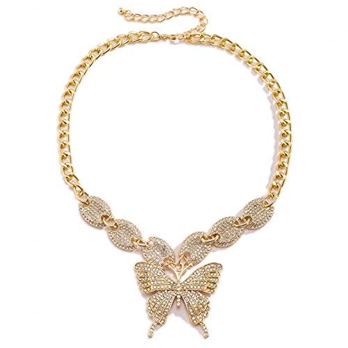 BAJIE Collar Mujer, Collar de clavícula a la Moda con Incrustaciones de Diamantes de imitación con Incrustaciones de Mariposa, Hip Hop, Estilo de Fiesta, Moda