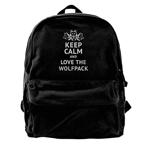 NJIASGFUI Mochila de lona con texto en inglés Keep Calm And Love The Wolfpack, para gimnasio, senderismo, portátil, para hombres y mujeres