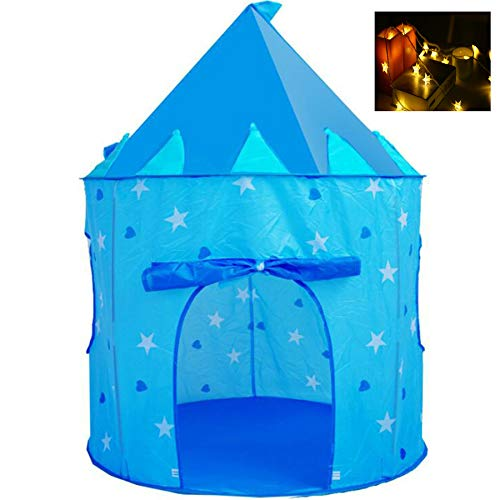 Georgie Porgy Kids Foldable Play House Portable Tent Castle Indoor Outdoor Toy Garden Blue Yurt Tent Free for LED light