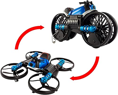 Jupiter Creations Drone 2 Bike | Two-in-One Vehicle Transforms from Drone to Motorcycle | Control Using Hand Controller or Smartphone App | Built-in HD Camera