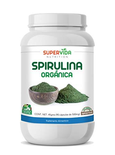 Spirulina Orgánica en polvo 90 Cápsulas Vegetales de 500 mg SPIRULINA | SuperVida Nutrition - Suplementos 100% Naturales