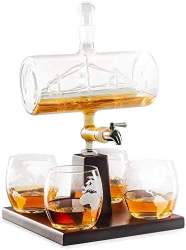 QZMX Decantador Decantador de Whisky Conjunto con 4 Gafas y Soporte de Madera de Roble, dispensador de Licor Libre único para escocés, Ron y Alcohol Decantador de Vino de Cristal