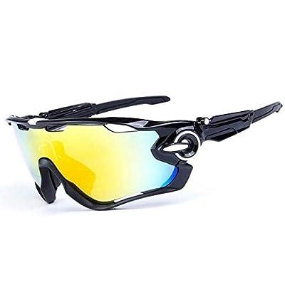 HTTOAR Cycling Glasses/Bike Glasses/Polarized Sports Sunglasses with 5 Interchangeable Lenses,Baseball Running Fishing Golf Driving Sunglasses Mens Womens (Black)