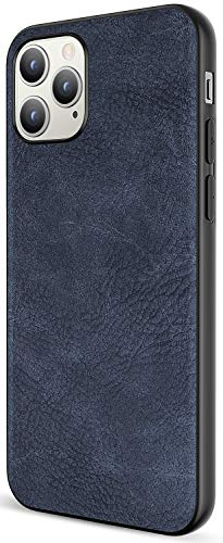 Salawat Compatible with iPhone 12 Pro Max Case, Slim PU Leather Vintage Shockproof Phone Cover Lightweight Premium Soft TPU Bumper Hard PC Hybrid Protective Case 6.7 inch (Blue)