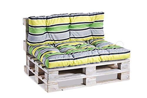 Palettenkissen Palettenauflagen Sitzkissen Rückenlehne Gesteppt PPI (Set (Sitzkissen 120x80 +Rückenlehne 120x40), Grün-Grau-Gelb 6)