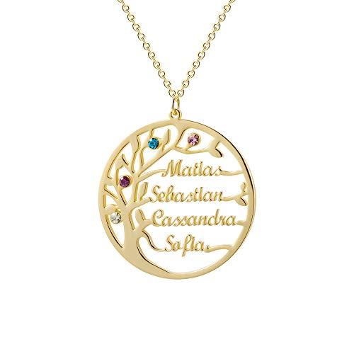 Y.Verve Collar con Colgante de árbol de la Vida de Plata de Ley 925, Personalizable con Piedra de Nacimiento, joyería Personalizada para Mujer