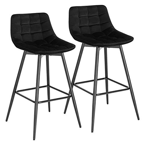 WOLTU BH143sz-2 Lot de 2 Tabouret de Bar Design Chaise Haute pour Bar Bistro siège en Velours avec Repose-Pieds Cadre en métal,Noir