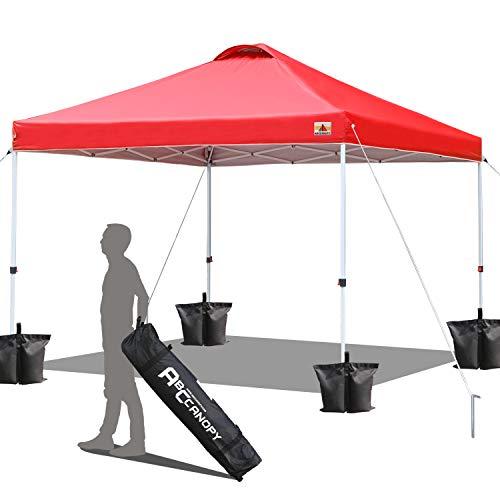 ABCCANOPY 3x3M Pavillon wasserdicht Pop-Up Gartenpavillon Festival Sonnenschutz,inkl. Tasche,rot