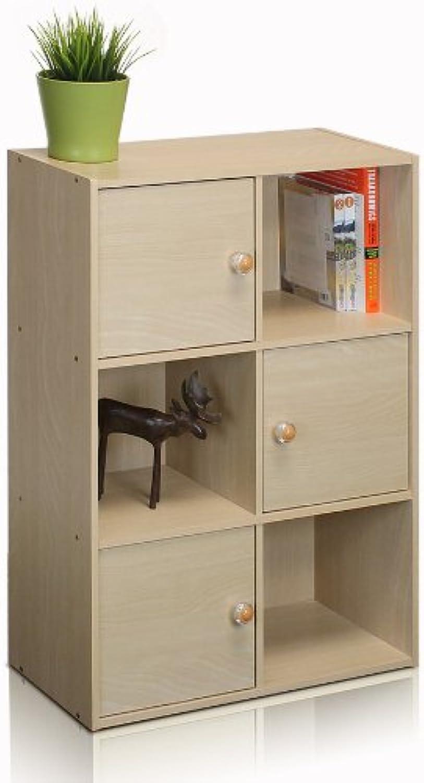 Furinno 11189SBE Pasir 3 Tier Shelf with 3 Door Round Handle, Steam Beech