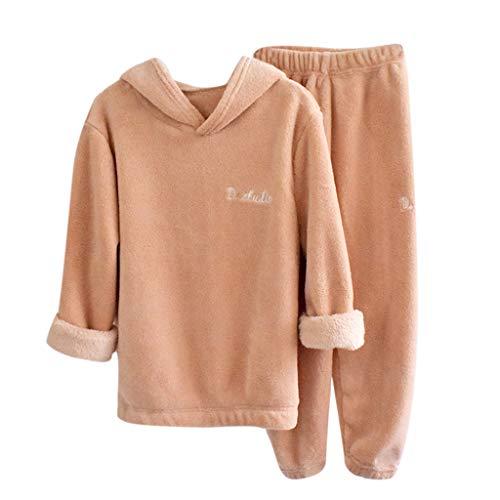 Livoral Kinder Jungen Mädchen Langarm Pyjama Dickes Fleece Lose Tops Hosen Outfits Set(Rosa,5-6 Jahre)