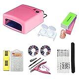 Layhou Kit de herramientas para uñas de inicio Lámpara de secador de uñas 27W Carga USB,Pinceles para pintar uñas,Taladro de mano
