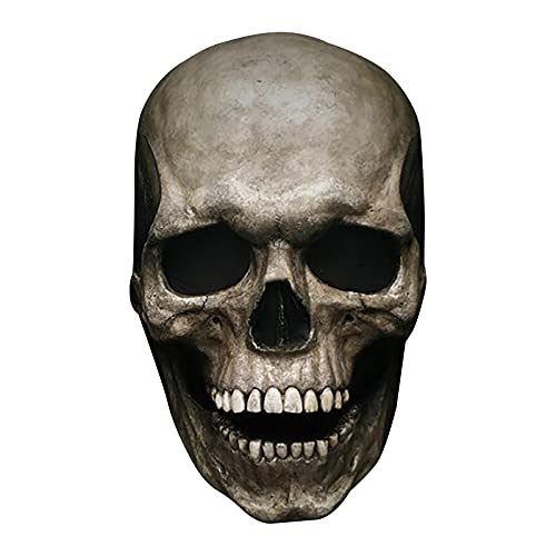 Rumity Halloween Masken Für Erwachsene, Halloween Kostüm Vollkopf-Schädelmaske, Helm mit beweglichem Kiefer,Halloween Deko Horror Party Latex Masken Cosplay Prop (Soft Version)