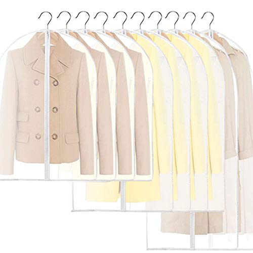 Oceans - Funda transparente para colgar ropa, bolsa de ropa con cremallera completa, PEVA a prueba de polillas, funda de ropa para...