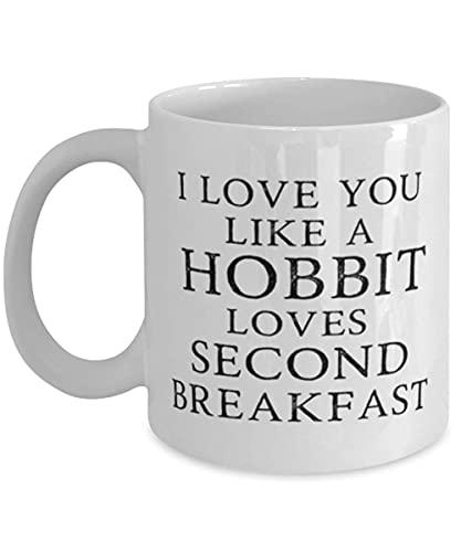 N\A Divertida Taza de café de El Señor de los Anillos, Te Amo como Hobbit ama el Segundo Desayuno