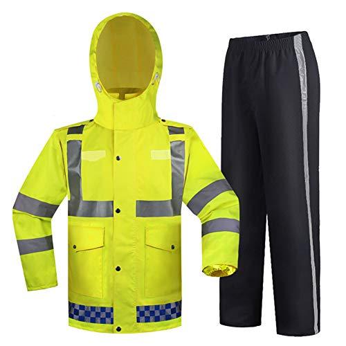 XIONGG Außen Regen Anzug, Wasserdicht Mit Kapuze Heavy Duty High Visibility Sicherheit Reflektierende Arbeitskleidung Set Raincoat,L