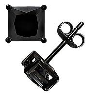 Yes It 'sスターリングシルバーブラックonブラックプリンセスカットスクエアキュービックジルコニアバスケットセットユニセックススタッドイヤリング( 9mm )
