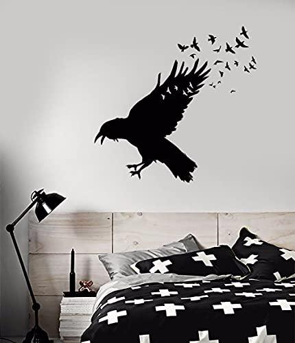 Negro Cuervo Cuervo Bandada de pájaros Alas Volar Animal Vinilo Etiqueta de la pared Calcomanía Niño Niños Dormitorio Sala de estar Oficina Estudio Decoración para el hogar Mural