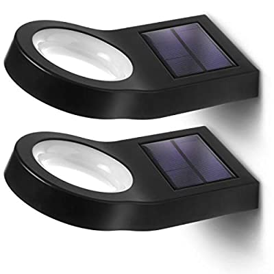 Home Zone Security Solar Wall Light - Decorative Motion Sensor Modern Outdoor Patio Sconce Light with No Wiring Required, 2-Pack